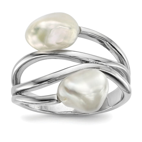Sterling Silver RH 7-8mm White Baroque FWC Pearl Ring - shirin-diamonds