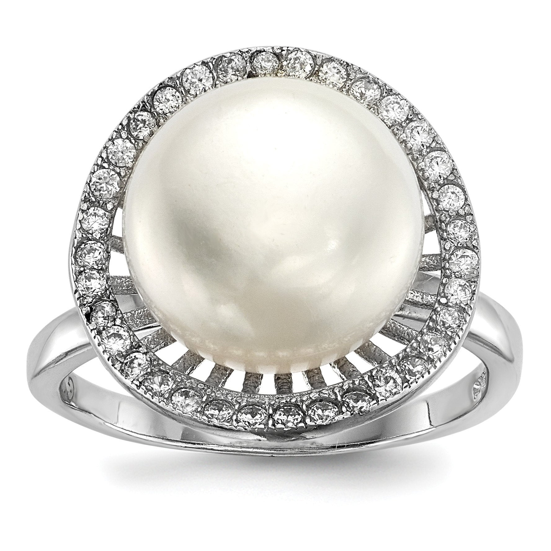 Sterling Silver RH 11-12mm White Button FWC Pearl CZ Ring - shirin-diamonds