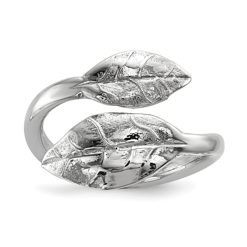 Sterling Silver Rhodium-plated Leaf Ring - shirin-diamonds