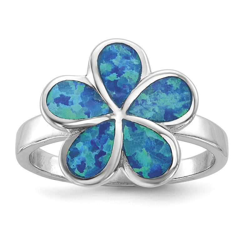 Sterling Silver Rhodium-plated Blue Inlay Created Opal Flower Ring - shirin-diamonds