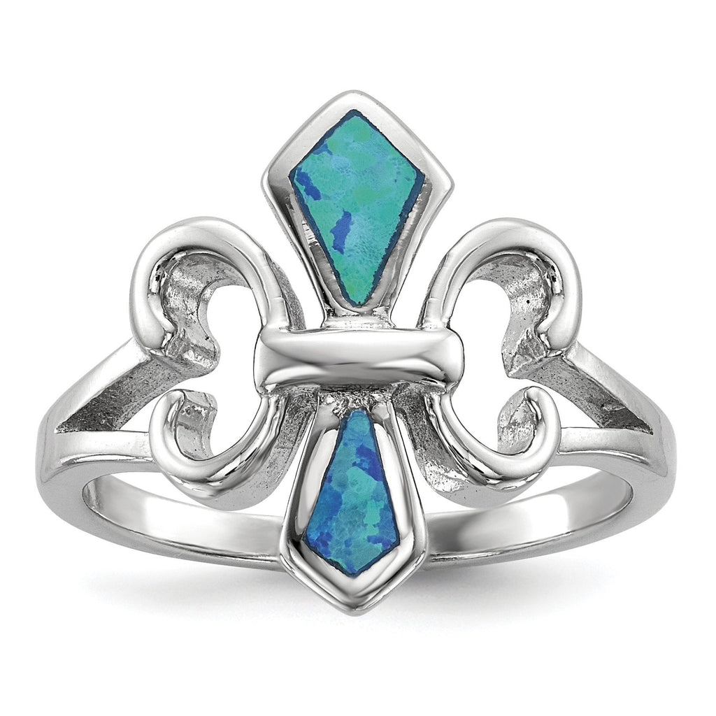 Sterling Silver Rhodium-plated Blue Inlay Created Opal Fleur De Lis Ring - shirin-diamonds