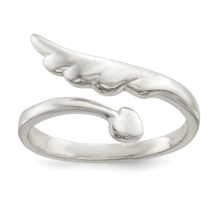 Sterling Silver Polished Heart and Wing Adjustable By-Pass Ring - shirin-diamonds