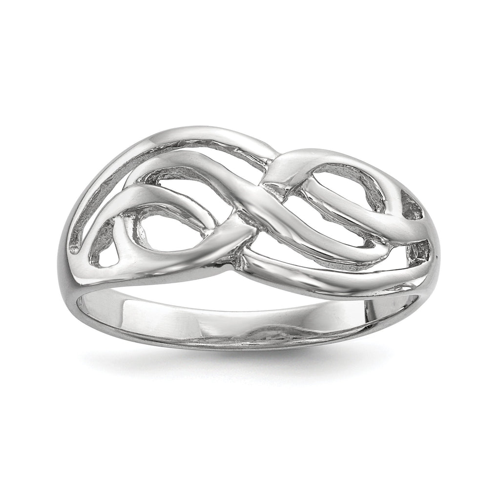 Sterling Silver Rhodium-plated Polished Infinity Ring - shirin-diamonds