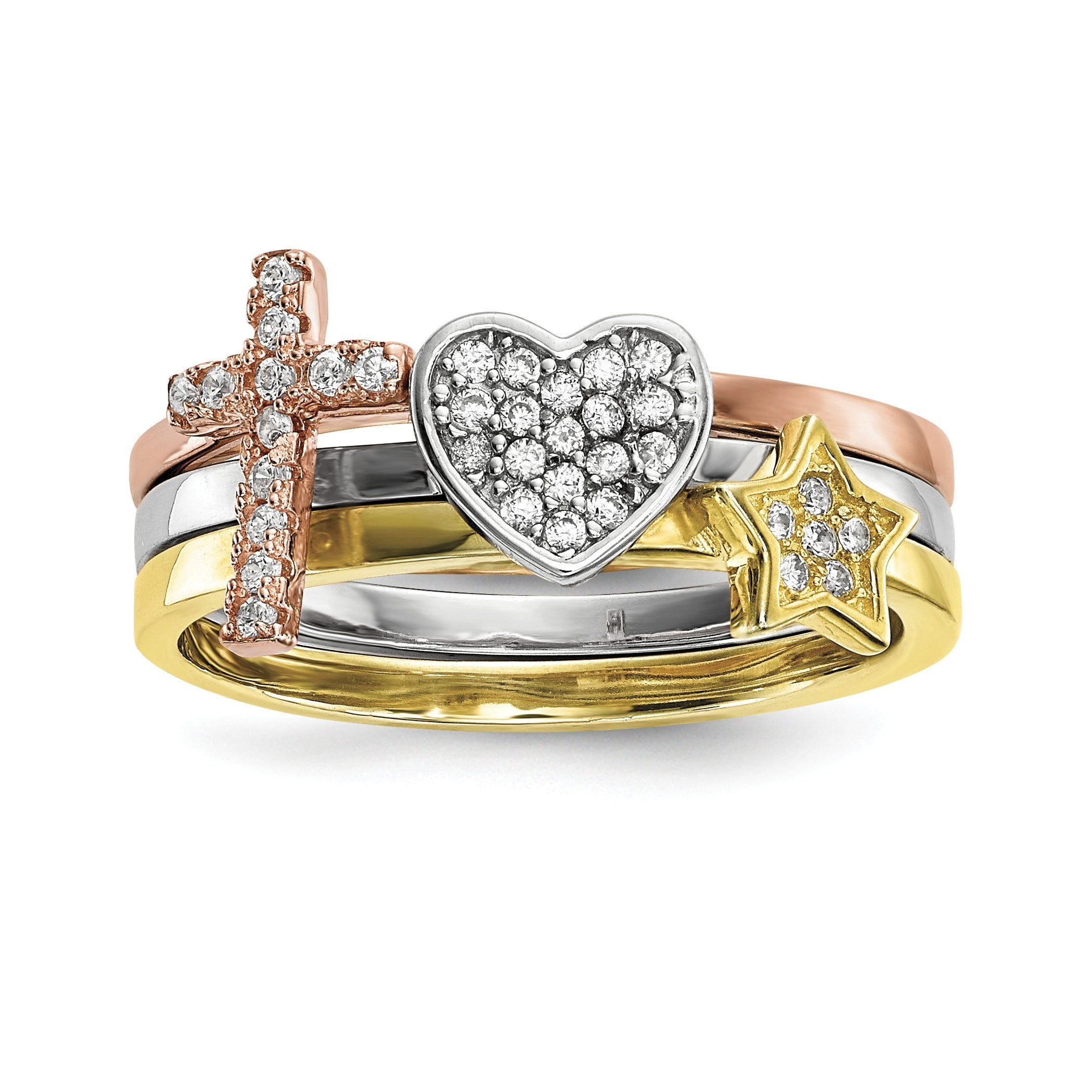 Sterling Silver Rhodium-plate Gold & Rose-tone Star Cross CZ 3 Ring Set - shirin-diamonds