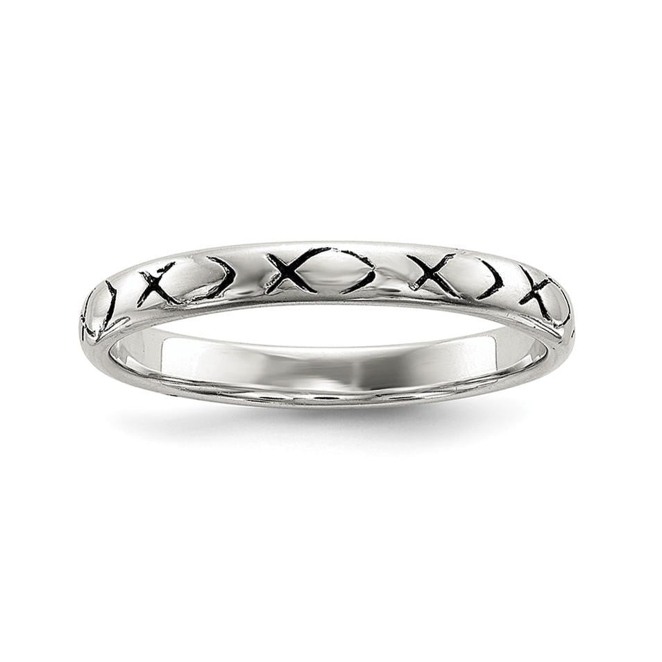 Sterling Silver Rhodium-plated Polished Antiqued Ichthus Ring - shirin-diamonds
