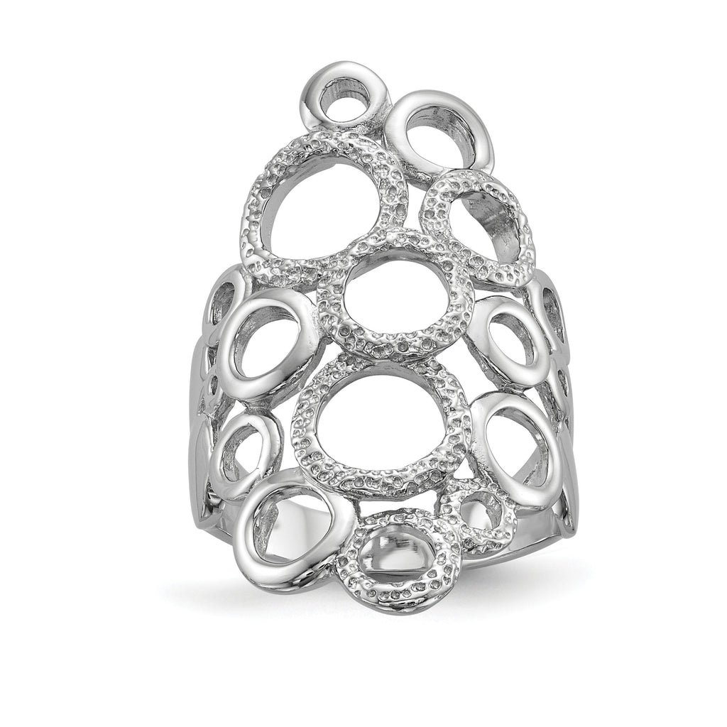 Sterling Silver Rhodium-plated Polished & Textured Circles Ring - shirin-diamonds