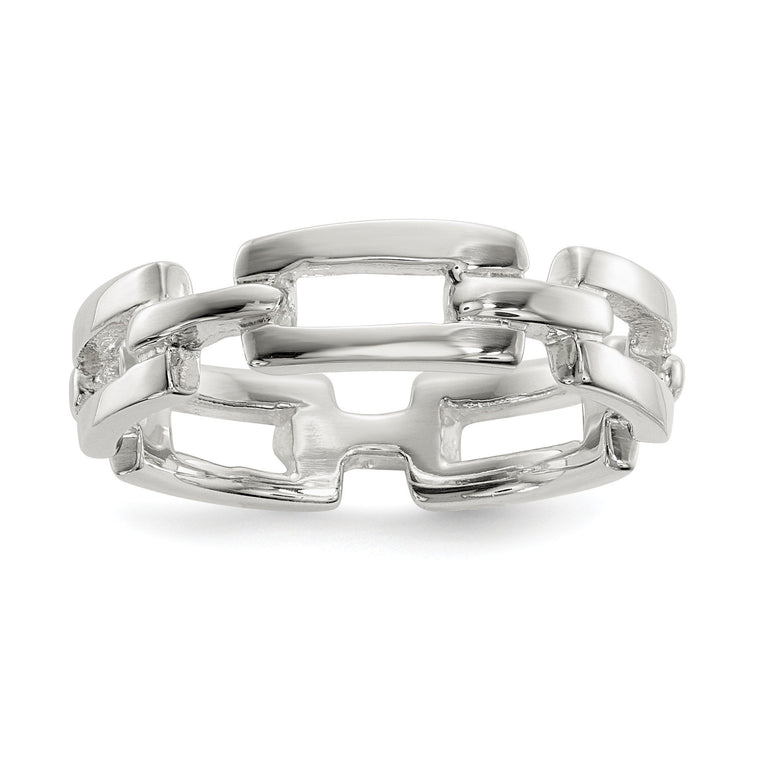 Sterling Silver Polished Fancy Link Ring - shirin-diamonds
