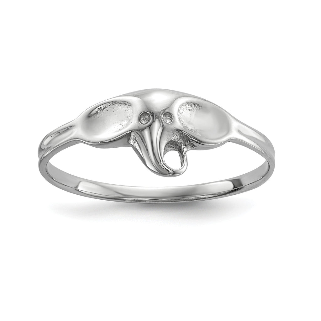 Sterling Silver Rhodium-plated Polished Elephant Ring - shirin-diamonds