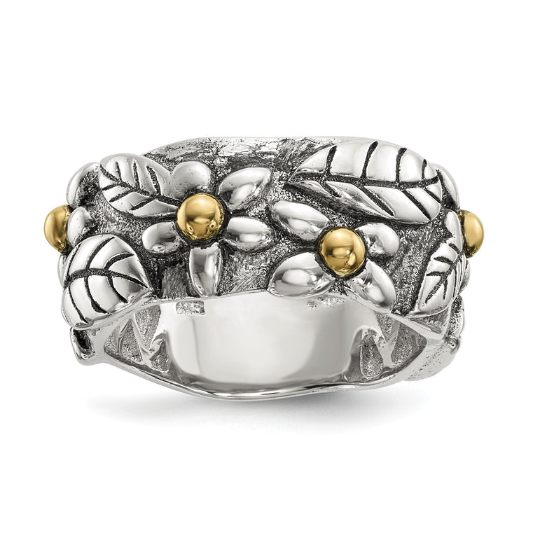 Sterling Silver w/14k Antiqued Leaves & Flowers Band - shirin-diamonds