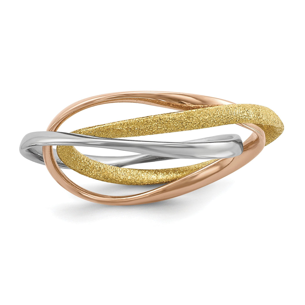 Sterling Silver Rhodium Gold & Rose Gold-plated Intertwined Ring - shirin-diamonds