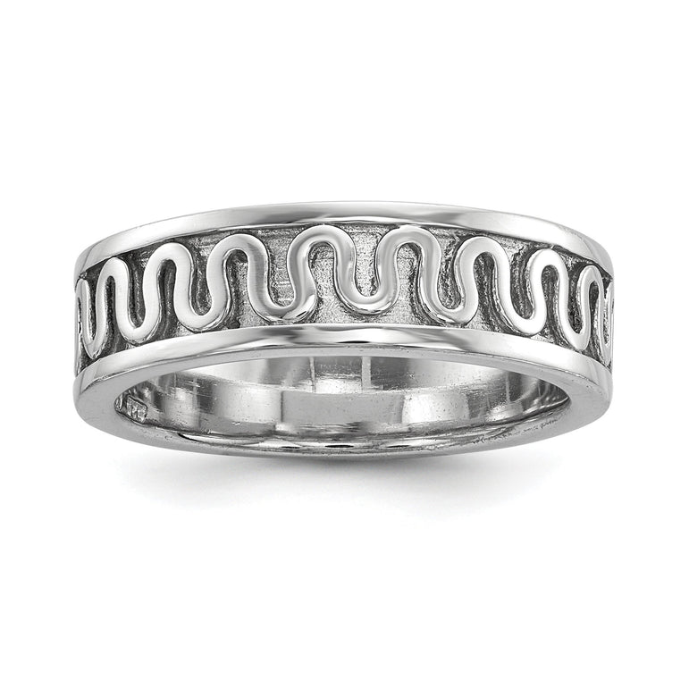 Sterling Silver Rhodium-plated Polished Fancy Ribbon Band - shirin-diamonds
