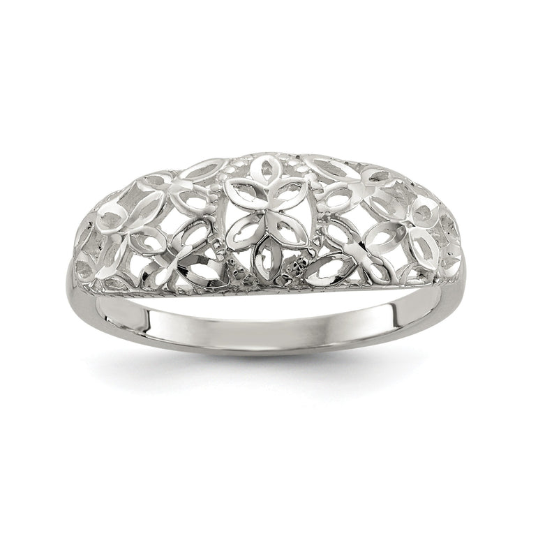 Sterling Silver Diamond Cut Filigree Ring - shirin-diamonds