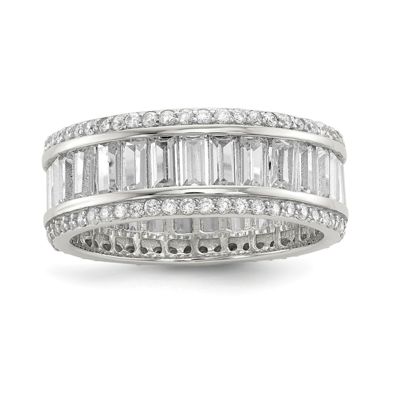 Sterling Silver Baguette & Round CZ Eternity Ring - shirin-diamonds