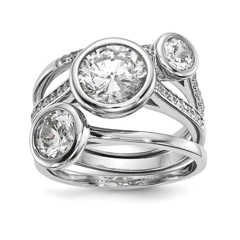 Sterling Silver Rhodium-plated CZ 3-Ring Set - shirin-diamonds