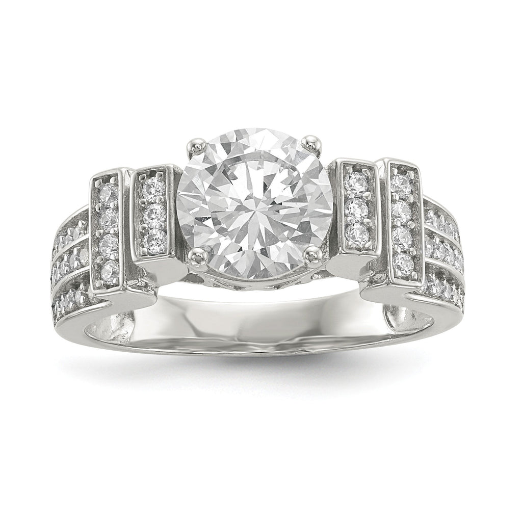 Sterling Silver CZ Tiered Pav' Ring - shirin-diamonds