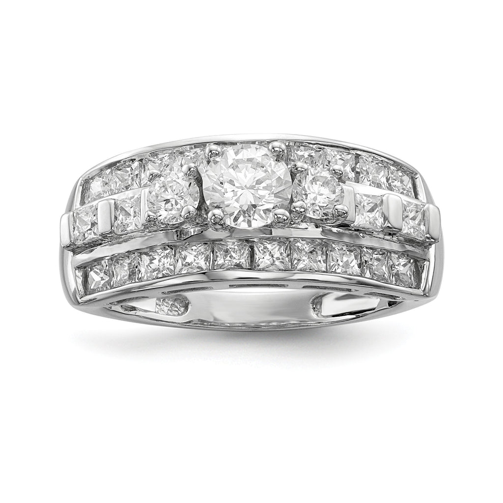 Sterling Silver Rhodium-plated CZ Ring - shirin-diamonds