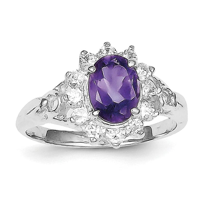 Sterling Silver Rhodium-plated Amethyst and CZ Ring - shirin-diamonds