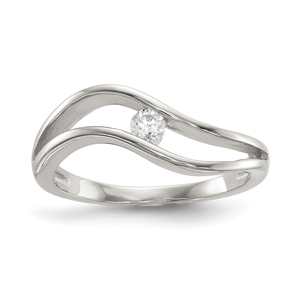 Sterling Silver Rhodium-plated Wavy CZ Ring - shirin-diamonds