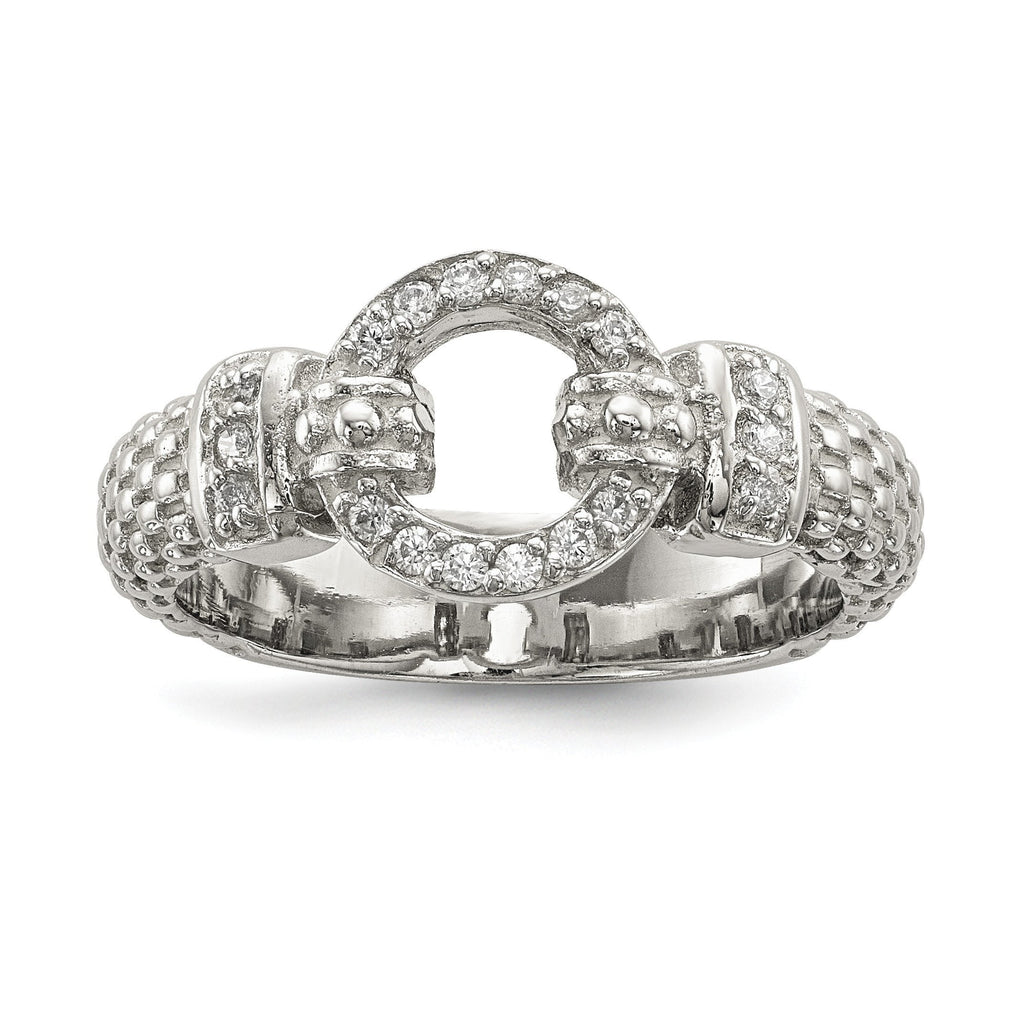 Sterling Silver CZ Textured  Ring - shirin-diamonds