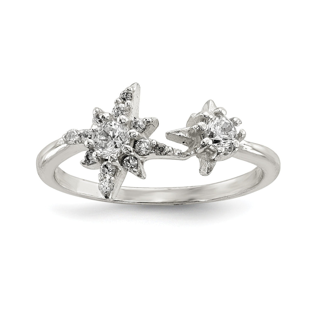 Sterling Silver Polished CZ Stars Ring - shirin-diamonds