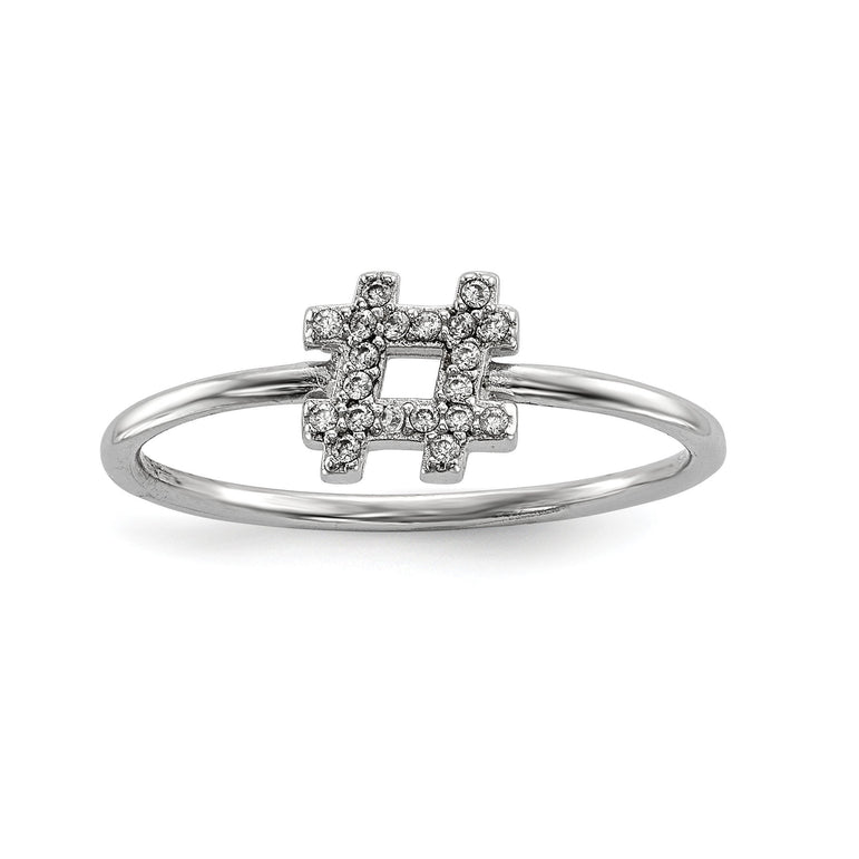 Sterling Silver Rhodium-plated CZ Hashtag Ring - shirin-diamonds