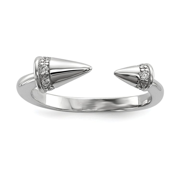 Sterling Silver Rhodium-plated CZ Spike Ring - shirin-diamonds