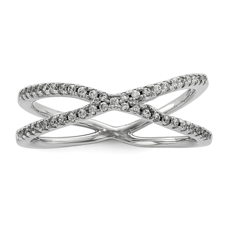 Sterling Silver Rhodium-plated CZ Criss Cross Ring - shirin-diamonds