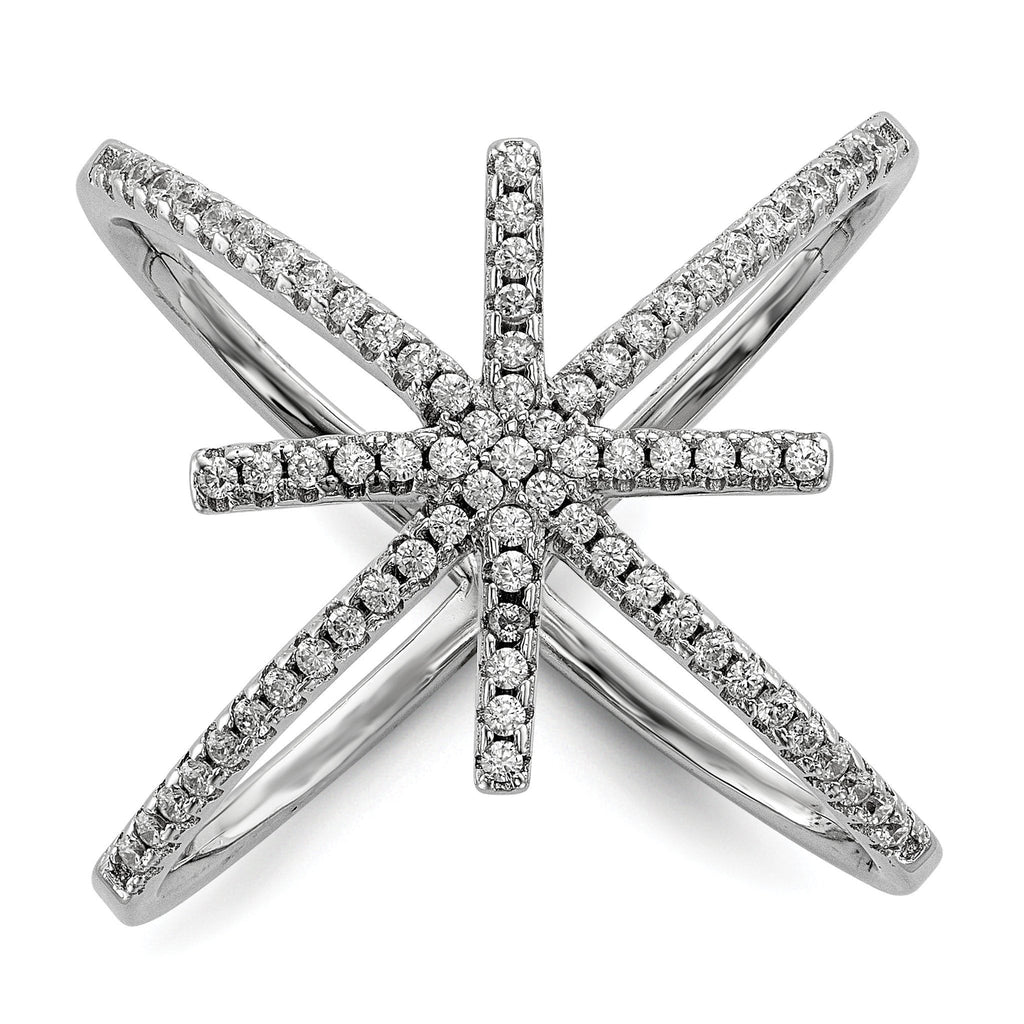 Sterling Silver Rhodium-plated CZ Star Criss Cross Ring - shirin-diamonds