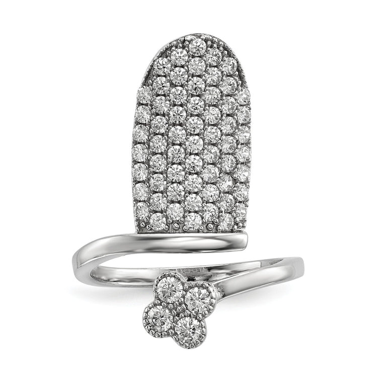 Sterling Silver Rhodium-plated CZ Adjustable Flower Fingernail Ring - shirin-diamonds