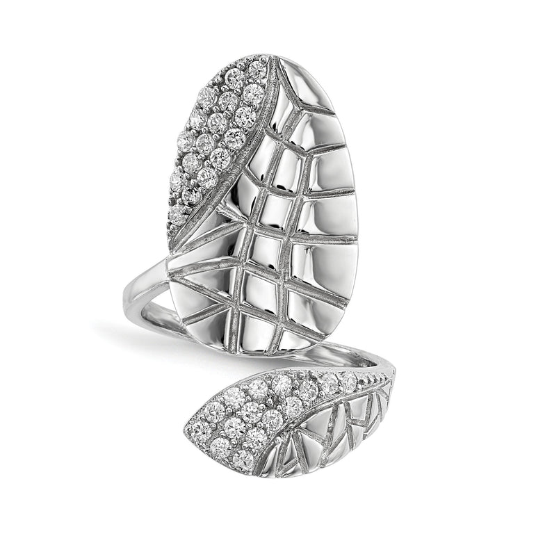 Sterling Silver Rhodium-plated CZ Adjustable Textured Fingernail Ring - shirin-diamonds