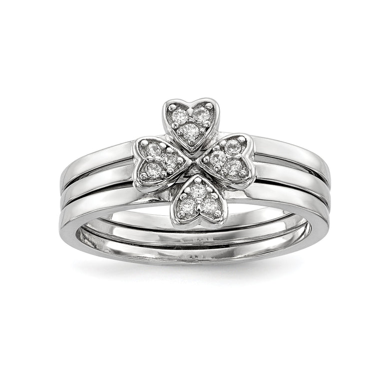 Sterling Silver Rhodium-plated CZ Heart Clover 3 Ring Set - shirin-diamonds