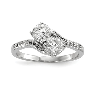 Sterling Silver Rhodium-plated Two Stone CZ Bypass Ring - shirin-diamonds
