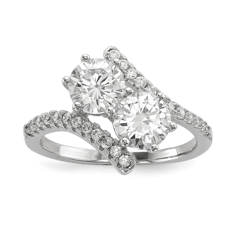 Sterling Silver Rhodium-plated CZ Two Stone Round Bypass Ring - shirin-diamonds