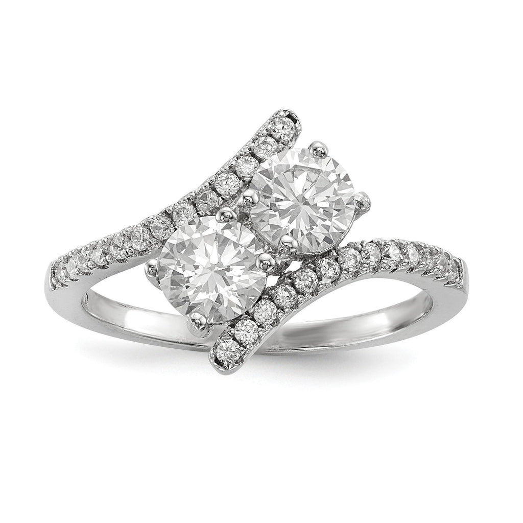 Sterling Silver Rhodium-plated CZ Two Stone Polished Bypass Ring - shirin-diamonds