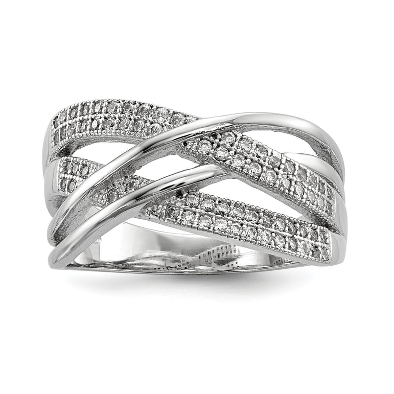 Sterling Silver Rhodium-plated CZ Woven Ring - shirin-diamonds