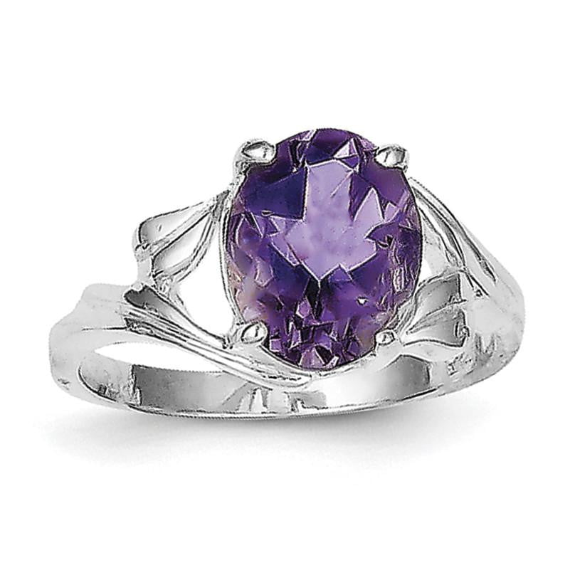 Sterling Silver Rhodium-plated Amethyst Ring - shirin-diamonds