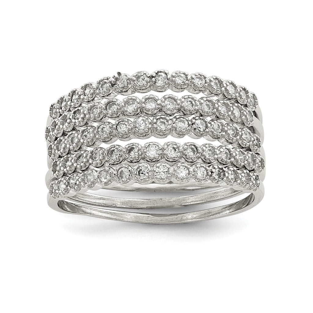 Sterling Silver Stackable Set of 5 CZ Rings - shirin-diamonds