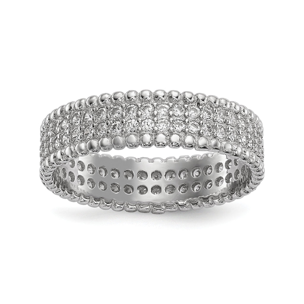 Sterling Silver Rhodium-plated Polished CZ 5.0mm Band - shirin-diamonds