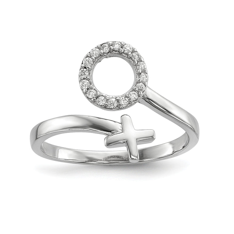 Sterling Silver Rhodium-plated X and O CZ Ring - shirin-diamonds