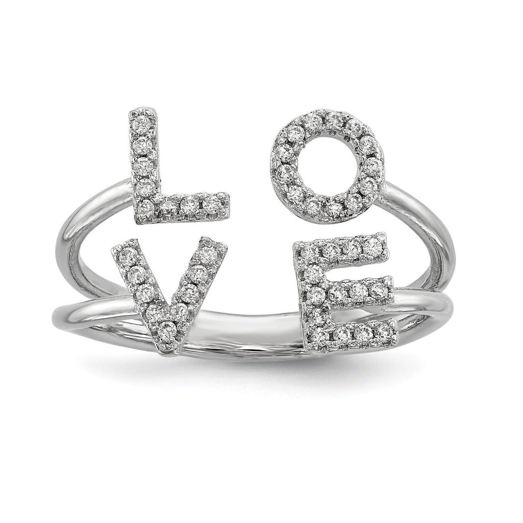 Sterling Silver Rhodium-plated CZ Love Adjustable Ring - shirin-diamonds