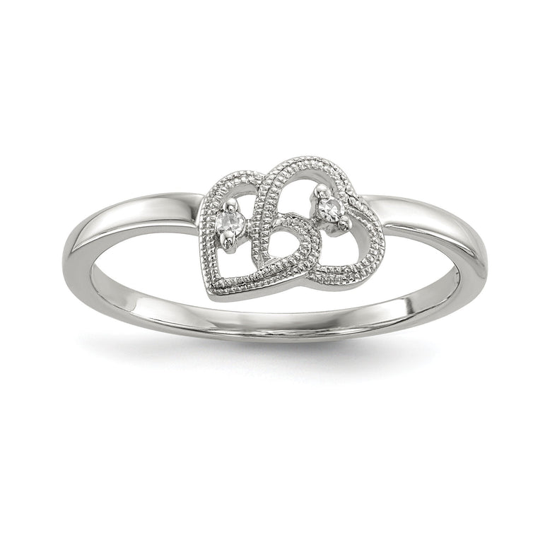 Sterling Silver Diamond Double Heart Ring - shirin-diamonds