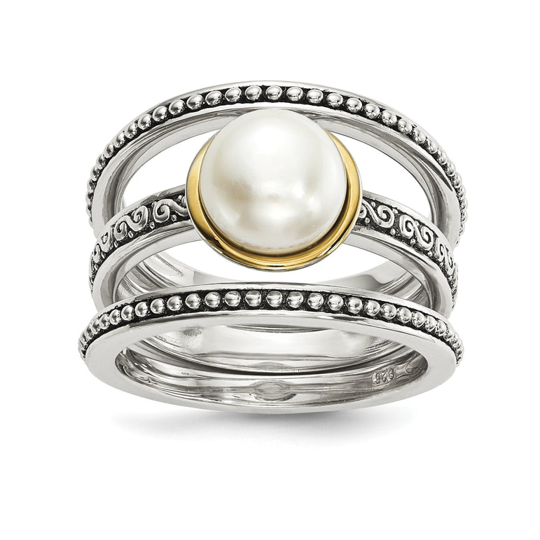 Sterling Silver w/14k Antiqued 8mm Button FWC Pearl Set of 3 Rings - shirin-diamonds