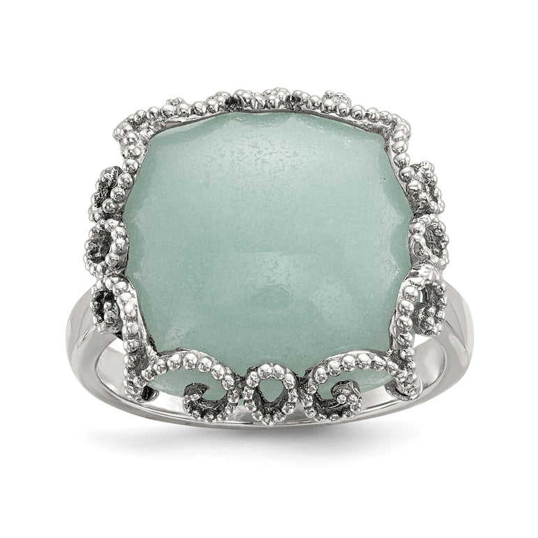 Sterling Silver w/ Amazonite Polished and Textured Ring - shirin-diamonds