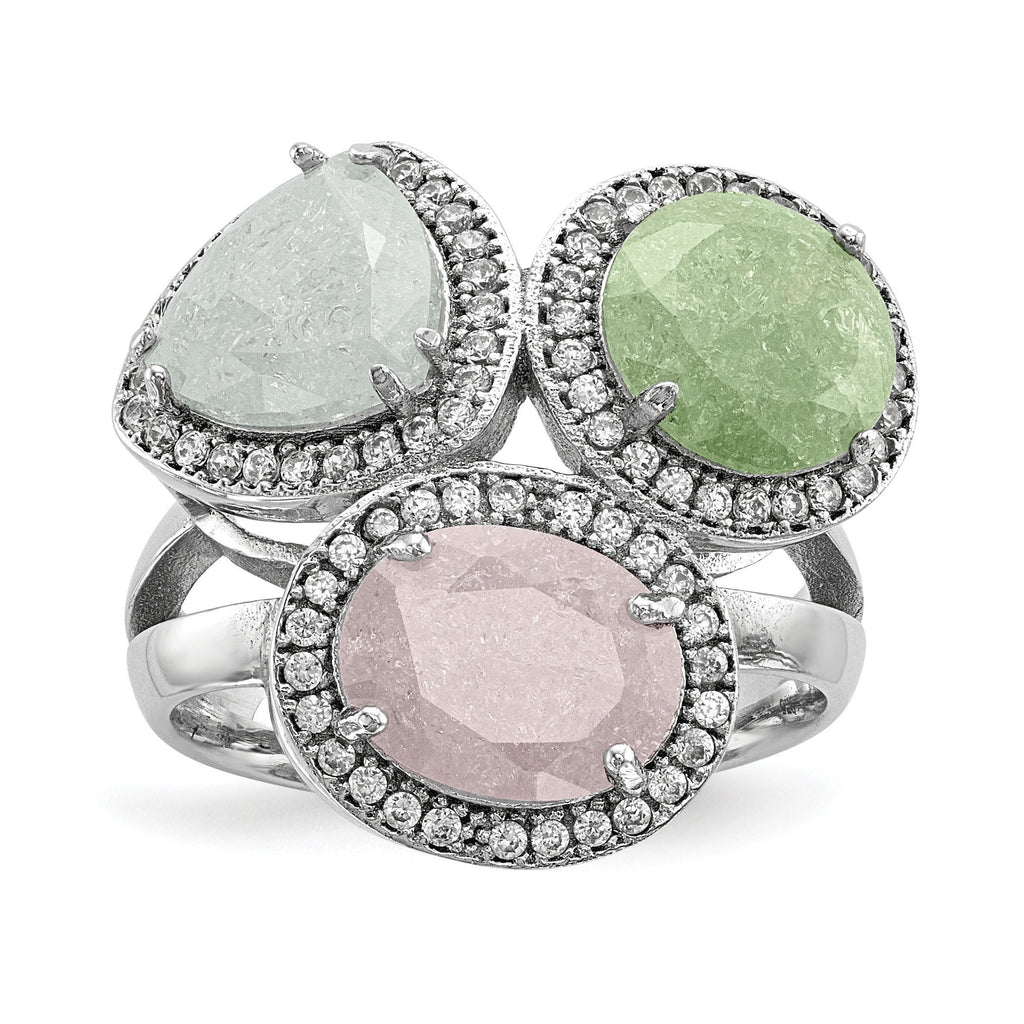 Sterling Silver Rhodium-plated Multi-color Ice CZ Ring - shirin-diamonds