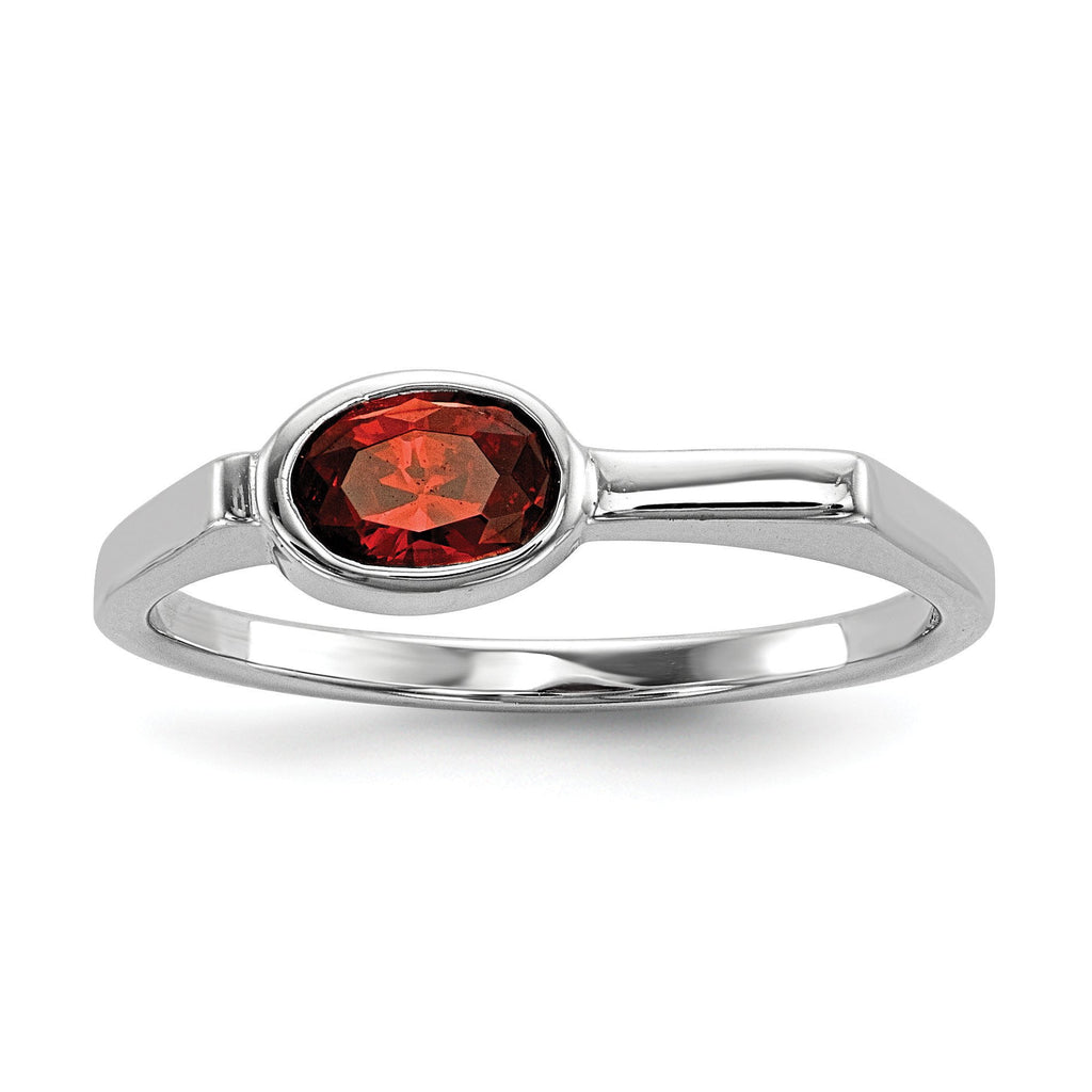 Sterling Silver Rhodium-plated Red CZ Ring - shirin-diamonds