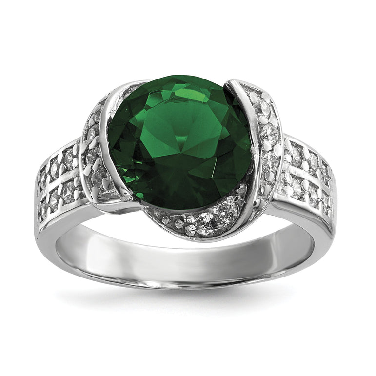 Sterling Silver Rhodium-Plated w/ Green & Clear CZ Ring - shirin-diamonds