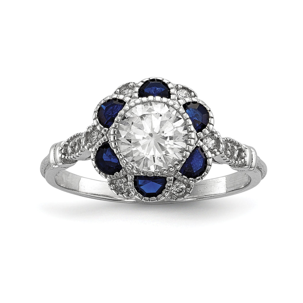 Sterling Silver Rhodium-plated CZ & Synthetic Blue Sapphire Flower Ring - shirin-diamonds