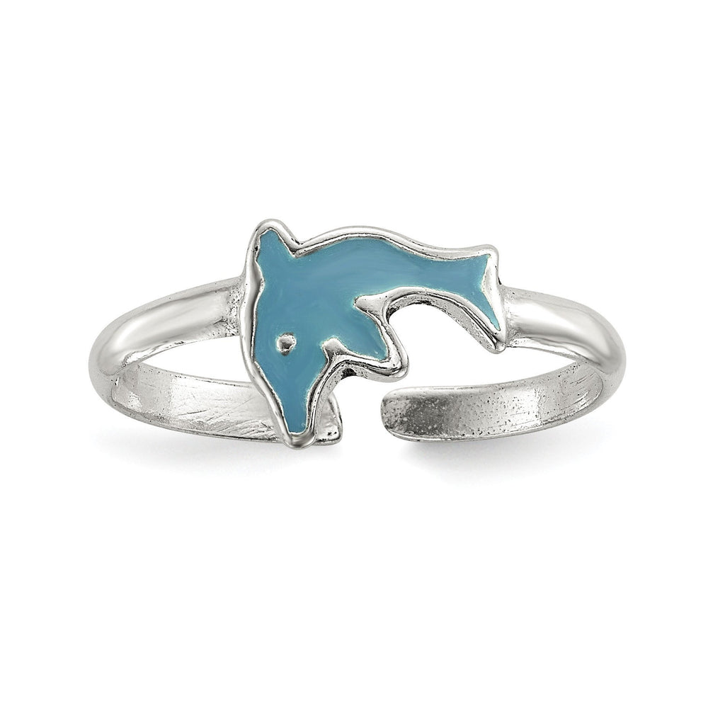Sterling Silver Polished Enameled Dolphin Toe Ring - shirin-diamonds