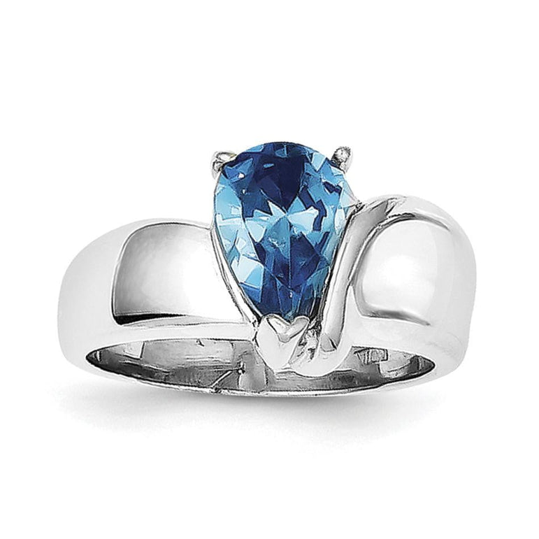 Sterling Silver Rhodium Blue CZ Ring - shirin-diamonds