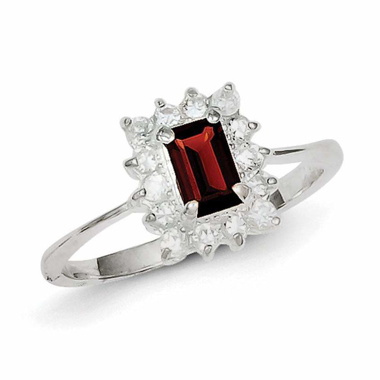 Sterling Silver Rhodium-plated Garnet & CZ Ring - shirin-diamonds